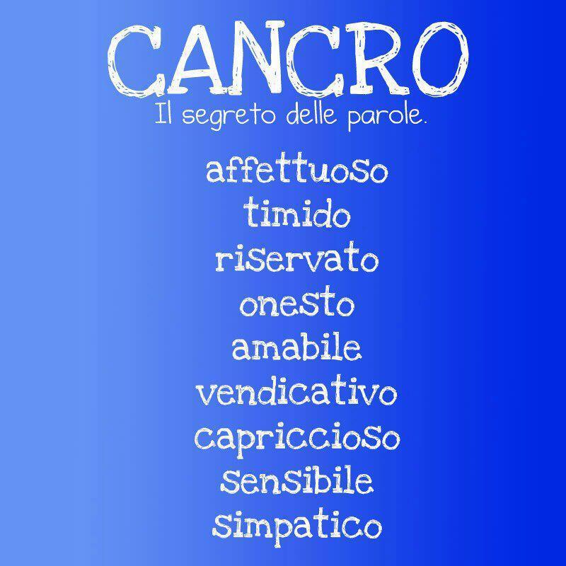 Aggettivi pè ogni segno zodiacale: CANCRO - 13/09/2012