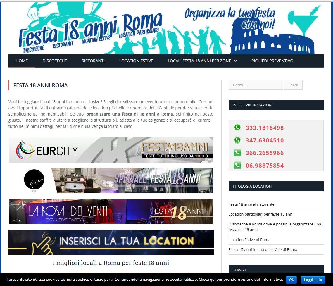 Nasce il nuovo sito per la tua festa di 18 anni: www.festa18anni-roma.it - 07/01/2018